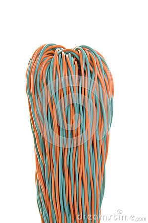 Colorful bunches of network cables