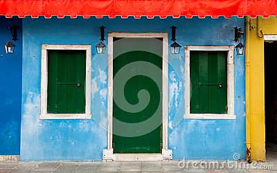 Colorful Burano facade in Venice, Italy