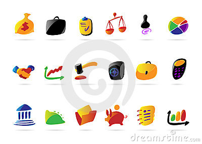 Colorful business, finance and legal icons