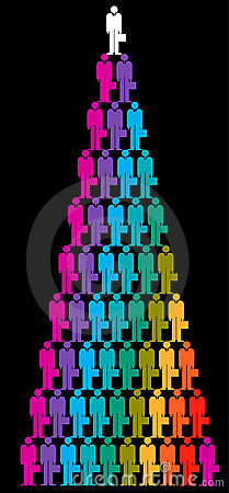 Colorful businessmen pyramid