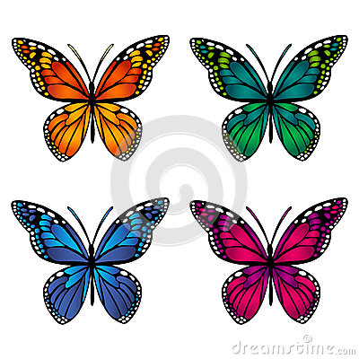 Free Colorful Butterflies On White Background Stock Photography - 89210052