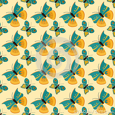 Colorful butterfly seamless pattern vector illustration. Vector Illustration