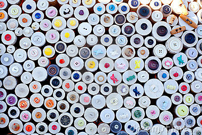 Colorful buttons display round boxes pattern