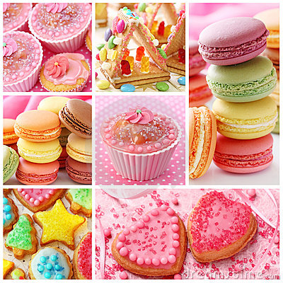 Free Colorful Cakes Collage Royalty Free Stock Photos - 18251928