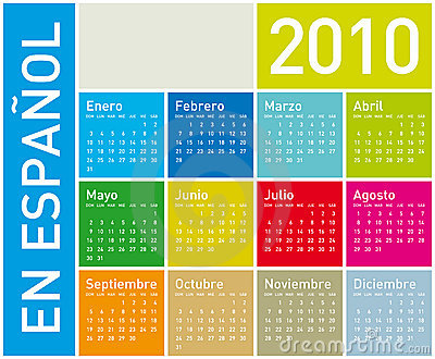 Colorful Calendar for 2010 in Spanish