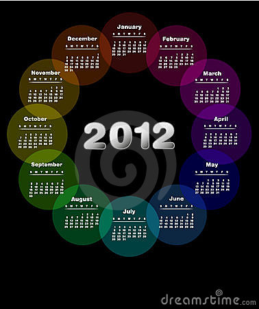 Colorful calendar design 2012