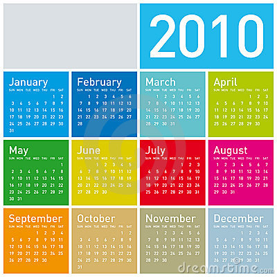 Free Colorful Calendar For 2010. Royalty Free Stock Photo - 8377215