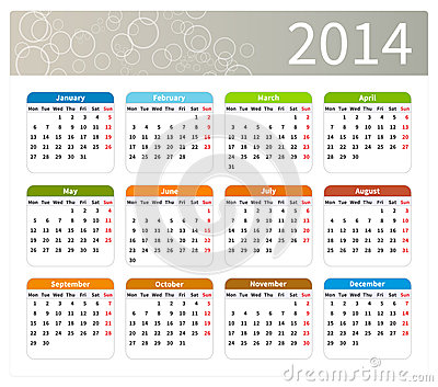 Colorful 2014 calendar