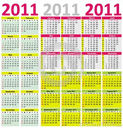 Colorful Calendar for Year 2011