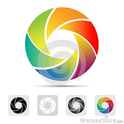 Colorful camera shutter logo ,Illustration.