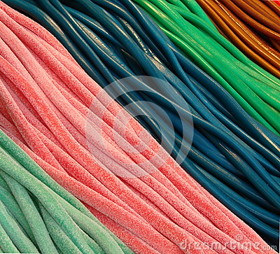 Colorful candies and licorice