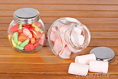 Colorful candies  and pink marshmallows
