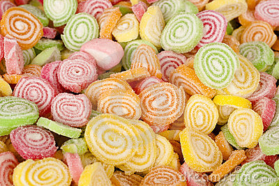 Colorful Candy With Sugar On Top