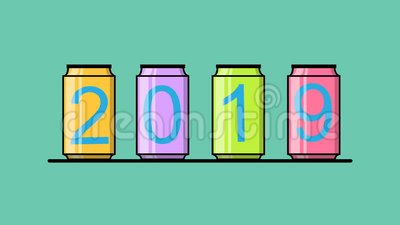 Colorful cans with number 2019 slide on display with text happy new year.  royalty free illustration