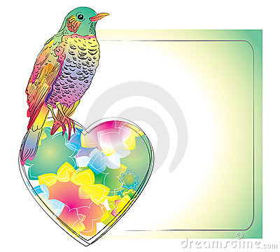 Colorful card with cute bird and heart