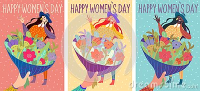 Colorful cards for International Women`s Day. Vector Illustration