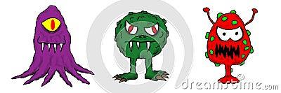 Colorful Cartoon Cold Flu Virus Bug Germs