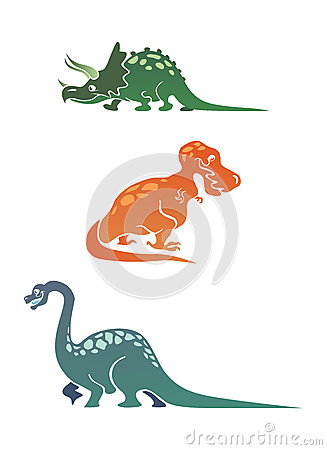 Colorful cartoon dinosaurs collection
