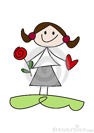 Cartoon girl holding flower and heart
