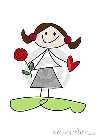 Cartoon girl holding flower and heart