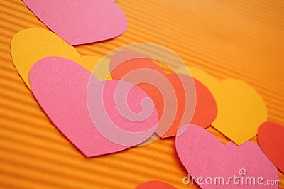 Colorful Cartoon hearts background.