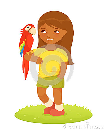 Illustration of a cute small girl with macaw parro