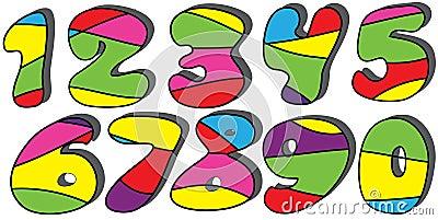 Colorful cartoon numbers set