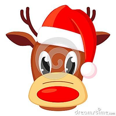 Colorful cartoon reindeer head in hat Vector Illustration