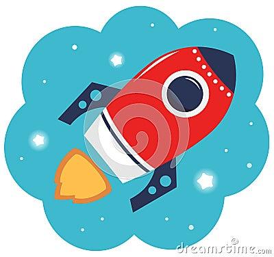 Colorful cartoon Rocket