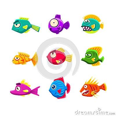 Free Colorful Cartoon Tropical Fish Set Stock Photography - 77481312