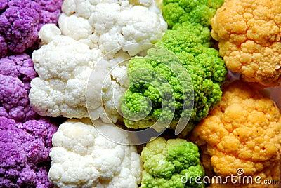 Colorful cauliflower and broccoli : purple, white, green, orange Stock Photo