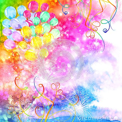 Free Colorful Celebration Background With Watercolor Balloons Stock Images - 104034654