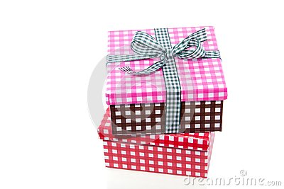 Colorful checkered giftboxes