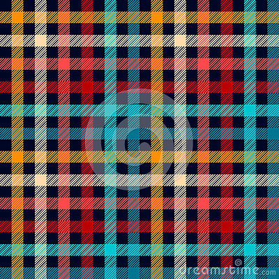 Colorful checkered gingham plaid fabric seamless pattern in blue white red and yellow, vector print Vector Illustration