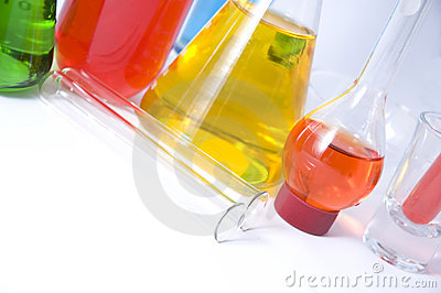 Colorful chemicals glassware