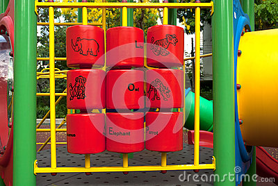 A colorful children playground on park