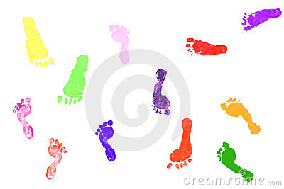 Colorful children s footprints