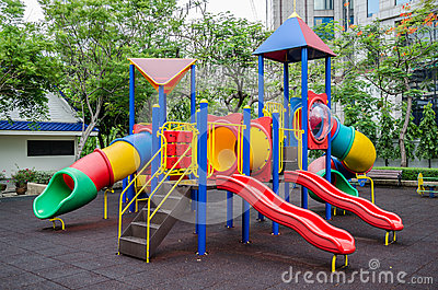 Colorful children s playground at public park in Bangkok