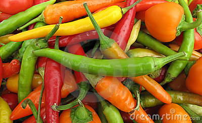 Colorful chili peppers full frame