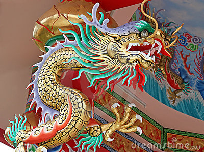 Colorful China dragon on oriental temple roof