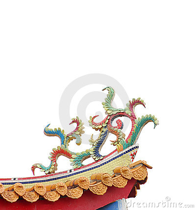 Colorful Chinese decoration on temple roof.