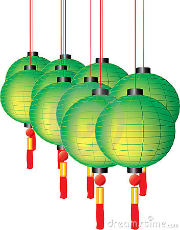Colorful chinese lanterns with red tassels on whit