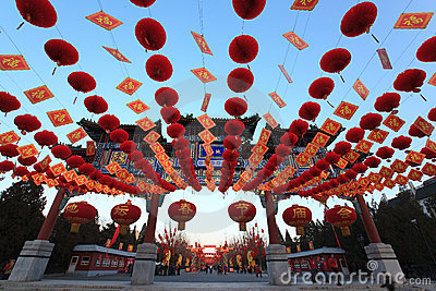 Colorful Chinese Lunar New Year decorations Editorial Image