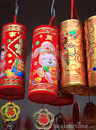 Colorful Chinese New Year decorations Editorial Stock Image