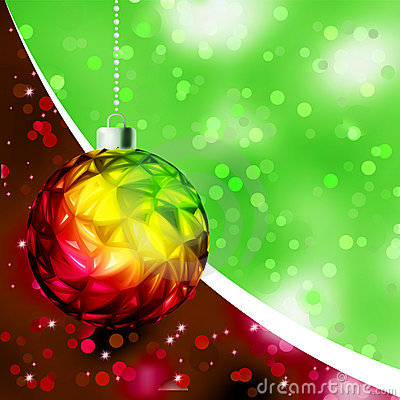 Colorful Christmas Ball card template. EPS 8