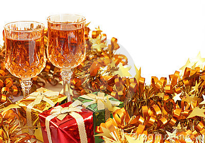 Colorful Christmas gifts and sherry