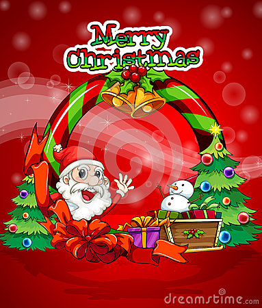 A colorful christmas template with Santa Claus