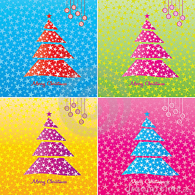 Colorful Christmas tree background set.