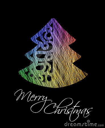 Colorful christmas tree greeting card