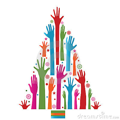 Colorful christmas tree of hands